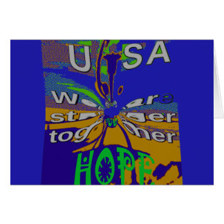We are stronger together funny USA Hope pattern de Card