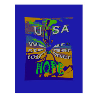 We are stronger together funny USA Hope pattern de Postcard