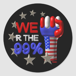 We are the 99 fist on 30 items round stickers