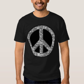 We are the 99% Peace Sign, Black & White on Black T Shirt