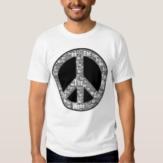 We are the 99% Peace Sign, Black & White on White Tee Shirts
