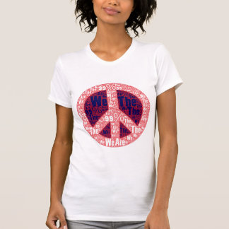 We are the 99% Peace Sign, Red White Blue on White Tanktop