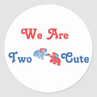 We Are Two Cute - Elephants Classic Round Sticker
