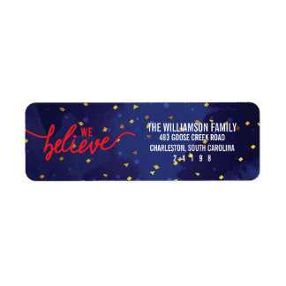 We Believe Confetti Christmas Label