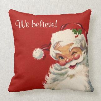 """We Believe"" Jolly Vintage Santa Claus Throw Pillow"