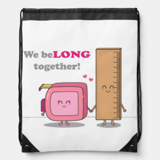 We belong together, Cute Couple in Love Drawstring Bag