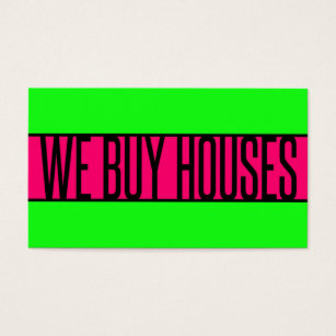 Buy house business cards templates zazzle we buy houses neon green hot pink business card colourmoves