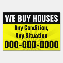 We Buy Houses, Real Estate Investment Property Lawn Sign