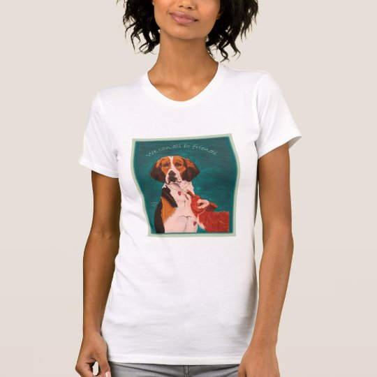We Can All Be Friends ladies casual scoop white T-Shirt