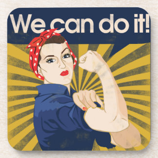 We can do it feminism drink coaster