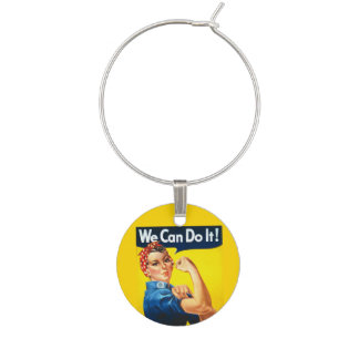 We Can Do It Rosie Riveter Wine Glass Charm