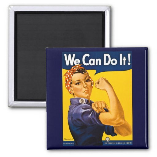 We Can Do It! Rosie the Riveter Vintage WW2 2 Inch Square Magnet