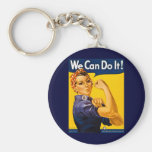 We Can Do It! Rosie the Riveter Vintage WW2 Basic Round Button Keychain