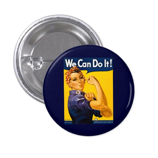 We Can Do It! Rosie the Riveter Vintage WW2 Buttons