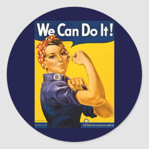 We Can Do It! Rosie the Riveter Vintage WW2 Classic Round Sticker