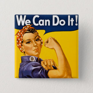 We Can Do It! Rosie the Riveter Vintage WW2 Pinback Button