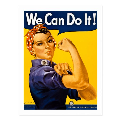 We Can Do It! Rosie the Riveter Vintage WW2 Post Cards