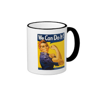 We Can Do It! Rosie the Riveter Vintage WW2 Ringer Coffee Mug