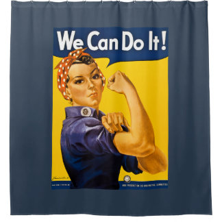 We Can Do It! Rosie the Riveter Vintage WW2 Shower Curtain