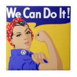 We Can Do It! Rosie The Riveter WWII Poster Small Square Tile