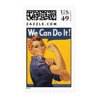 We Can Do It! Vintage War Poster Woman Postage Stamp