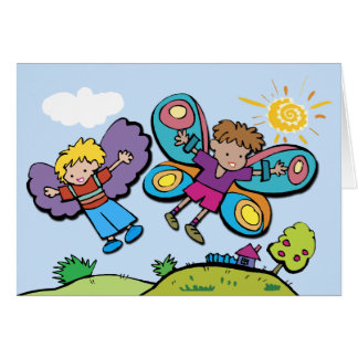 We Can Fly!  (Boys Flying!) Card