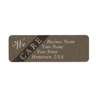 We Care Brown Pattern Address Labels