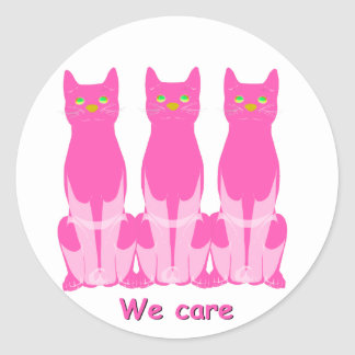 We care classic round sticker