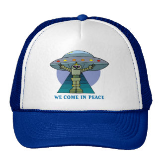 WE COME IN PEACE ROBOT TRUCKER HAT