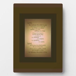 We Dedicate this child to you Plaque