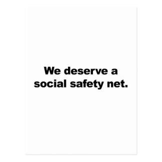 We deserve a social safety net postcard