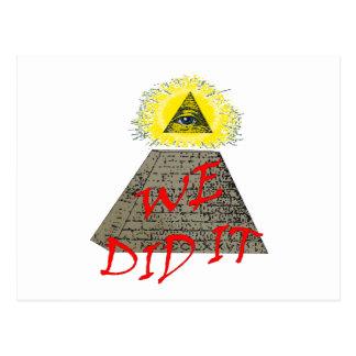 we did it (illuminati) postcard