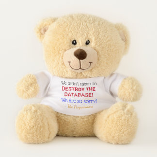 """""""We didn't mean to DESTROY THE DATABASE!"""" Teddy Bear"""