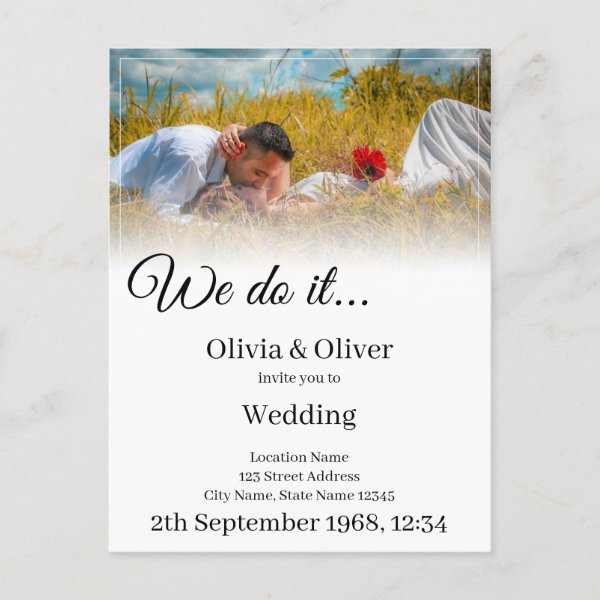 We do it - kissing couple on a meadow announcement postcard