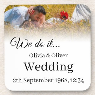 We do it - Kissing Couple on a Meadow Beverage Coaster