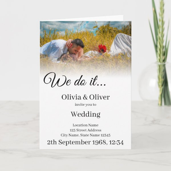 We do it - kissing couple on a meadow card