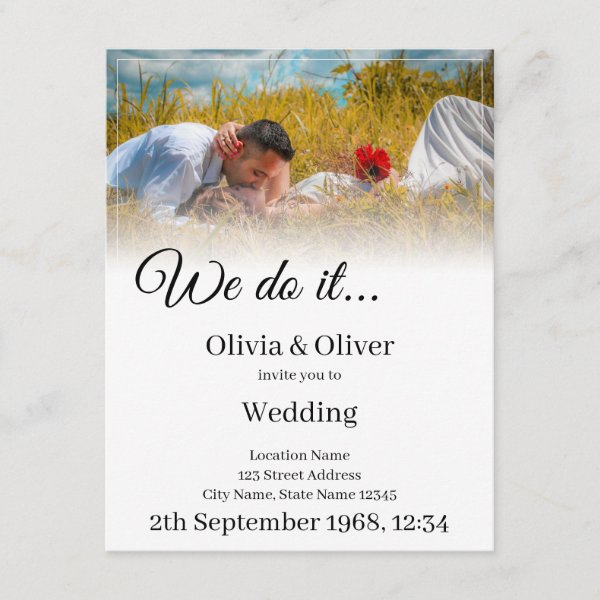 We do it - Kissing Couple on a Meadow Enclosure Card
