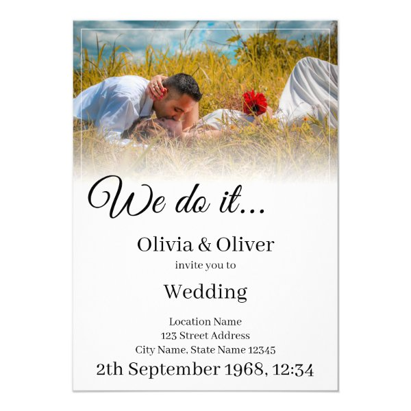 We do it - Kissing Couple on a Meadow Invitation