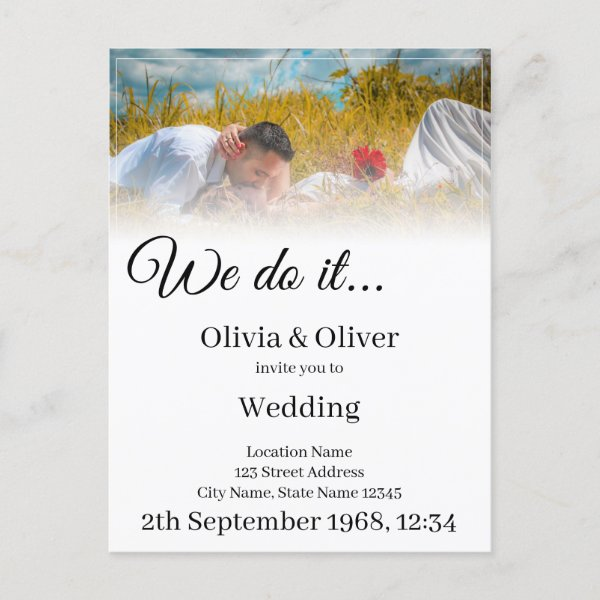 We do it - Kissing Couple on a Meadow Invitation Postcard