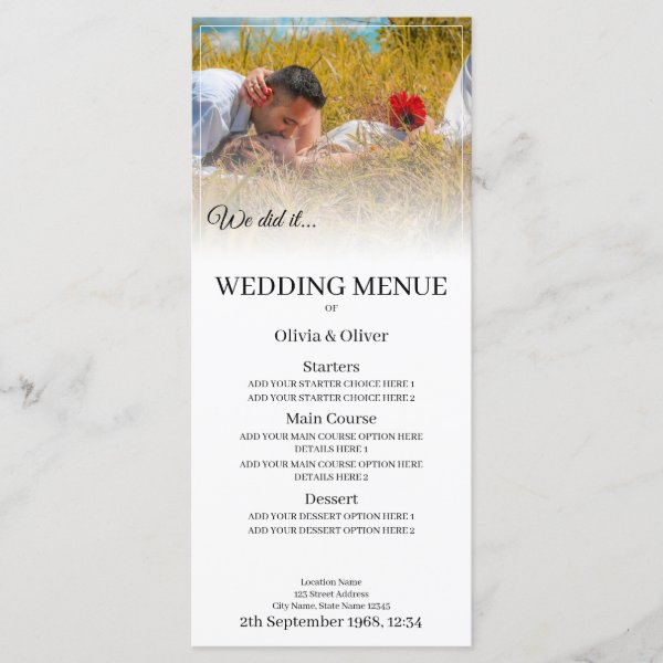 We do it - Kissing Couple on a Meadow Menu