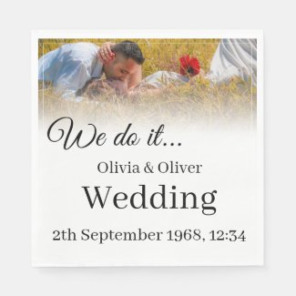 We do it - Kissing Couple on a Meadow Napkin