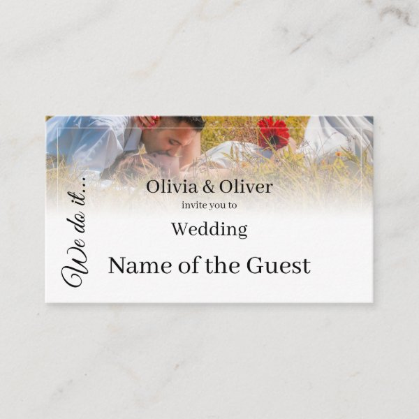 We do it - Kissing Couple on a Meadow Place Card