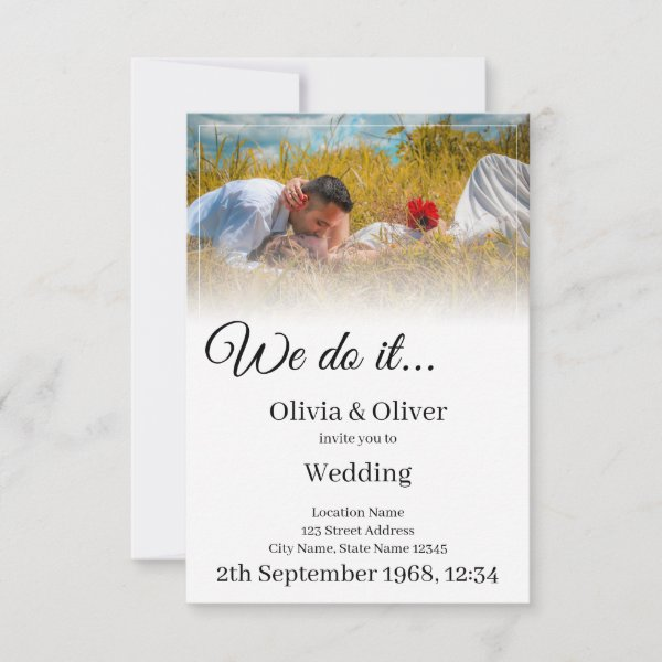 We do it - Kissing Couple on a Meadow RSVP Card