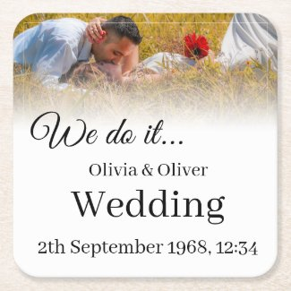 We do it - Kissing Couple on a Meadow Square Paper Coaster