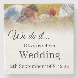 We do it - Kissing Couple on a Meadow Stone Coaster