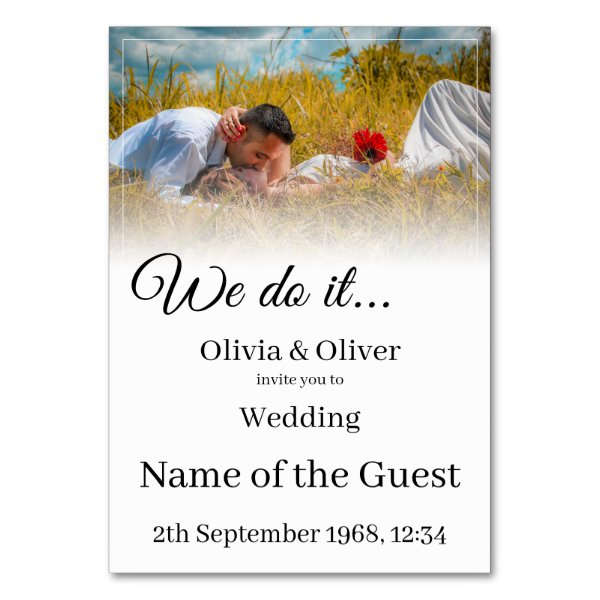 We do it - Kissing Couple on a Meadow Table Number