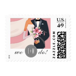 We Do! Pink, White & Grey Wedding Postage Stamps
