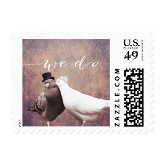 """We do"" Vintage Love Birds Wedding Stamps"