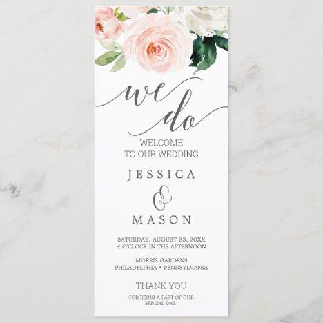 We Do Wedding Program Blushing Blooms