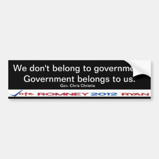 We don't belong to government Gov Christie Sticker Car Bumper Sticker
